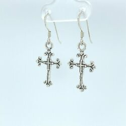 Kyпить 925 Sterling Silver Intricate Cross dangle diamond cut earrings на еВаy.соm