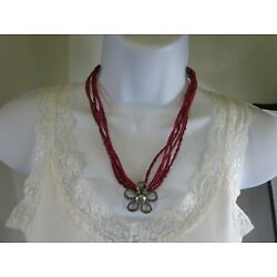 Kyпить Vintage Large Sterling Silver Coral 5 Strand Flower Necklace 19