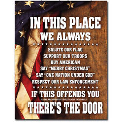 Kyпить In this place Metal tin sign support military USA home garage Wall decor new на еВаy.соm