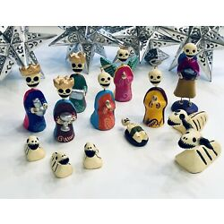 Kyпить DAY of the DEAD Nativity, Hand-painted Christmas Nativity Set 13 Pieces на еВаy.соm