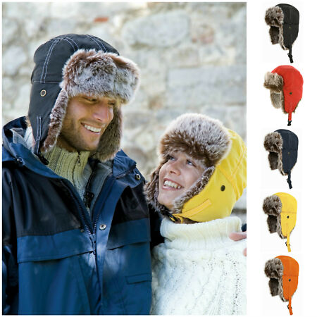 img-Real Rabbit Fur Men Russian Hat Ushanka Warm Winter Snow Ski Trapper Aviator Cap