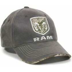 GREY DODGE RAM REALTREE CAMO 3D EMBROIDERED LOGO ADJUSTABLE CURVED BILL HAT CAP
