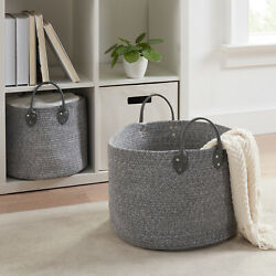 Mainstays Large and Small Round Cotton Rope Floor Bins Set of 2