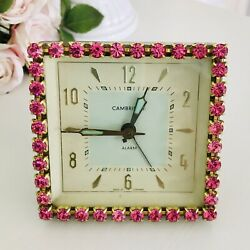 Kyпить Vintage Jeweled CAMBRIDGE Square Wind Up Alarm Clock Pink Crystal Rhinestones на еВаy.соm