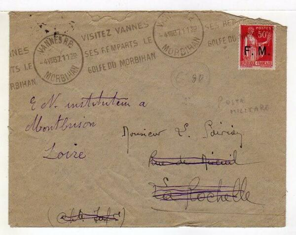 ItalienA4851) France 1937 Cover Fm Military Post