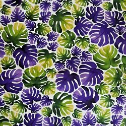 Daylily Fields Sue Beevers for RJR Cotton Fabric--Purple/Green Leaves--2 Yards