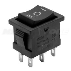 (1PC) DPDT Mini Rocker Switch On-Off-On Black Button KCD1 6A/250VAC - USA SELLER