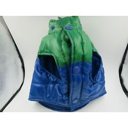 Old Navy Dog Supply Co Quilted Blue/ Green Puffy Jacket Medium Winter Dog Vest