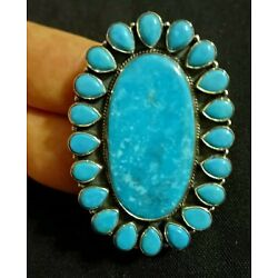 Kyпить Huge Navajo Southwestern Handmade Cluster Turquoise Sterling Silver Ring Sz 7.5 на еВаy.соm