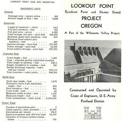Kyпить 1955 Portland OR Lookout Point Dam Project - Army Corps Info Pamphlet Dexter 1P  на еВаy.соm