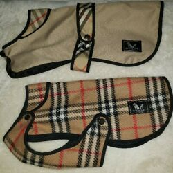 Burberry London Authentic Dog Quilted Nova Check Pattern Jacket Coat Set of 2