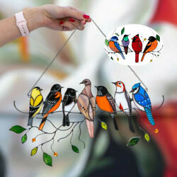 Kyпить Multicolor Birds On A Wire High Stained Glass Suncatcher Window Panel Home Decor на еВаy.соm