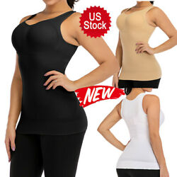 Women Slimming Tank Tops Tummy Control Cami Shaper Built Bra Shaping Camisole US