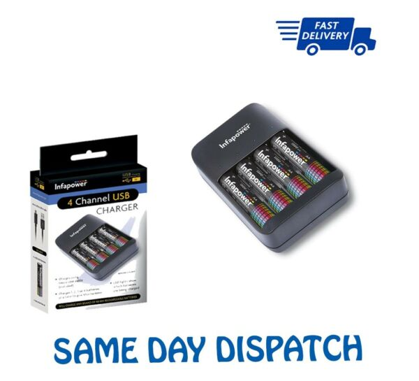 London,United Kingdom4 CHANNEL  CHARGER + 4AA & 4AAA upto 1300mAh Battery Power Charging Infapower