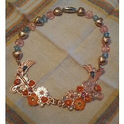 Kyпить Childs Girls Costume Jewelry Rose Gold Tone Necklace Flowers Hearts Guitar Beads на еВаy.соm
