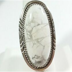 Kyпить NAVAJO BETTY BEGAYE STERLING SILVER ETCHED ELONGATED OVAL HOWLITE SIZE 8 RING на еВаy.соm