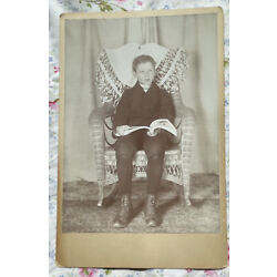 Kyпить ANTIQUE CABINET CARD PHOTO VICTORIAN  BOY HOLDING OPEN BOOK ON LAP Named на еВаy.соm