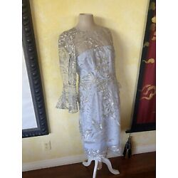 David Meister NWT 6 Exquisite Metallic Silver Embroidered Lavender Dress $550