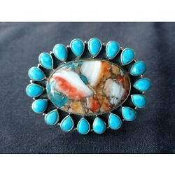 Kyпить Huge Handmade Sterling Silver Turquoise & Spiny Oyster Cluster Ring Size 8.5 на еВаy.соm