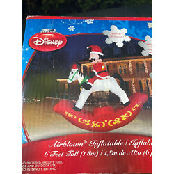 Kyпить Gemmy Disney 6' Mickey Mouse Rocking Horse Lighted Christmas inflatable Airblown на еВаy.соm