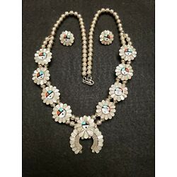 Kyпить Zuni Sterling Silver Sunface Squash Blossom Necklace Earring Set Carved & Inlay на еВаy.соm