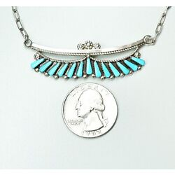 Kyпить Dainty Sterling Silver Zuni Petit Point Turquoise Pendant Necklace 16