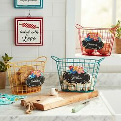 The Pioneer Woman Spring Wire Chalkboard Basket Bundle, Yellow Teal & Red, 10.7''