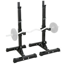Squat Rack Adjustable Bench Press Weight Exercise Barbell Stand Gym Fitness 6