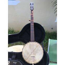 Vintage Late 1800's 5 String Banjo Original W/ New Hard Case. Ready To Play.