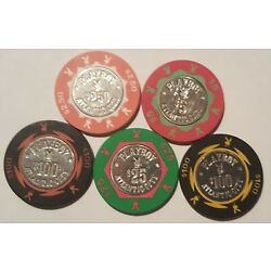 Lot Of 5 Casino Chips Playboy AC