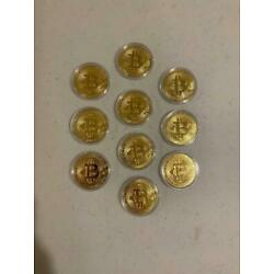 10 New Bitcoin Physical Coin Crypto Currency Gold Plastic Individual Holder