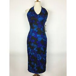 DAVID MEISTER Floral Embroidered Body Con Halter Dress - Size 2 NWT