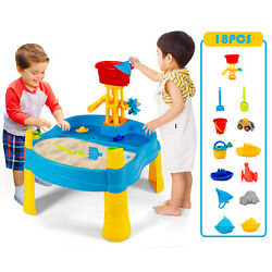 Costway Kids Sand and Water Table Activity Table Sandbox w/ 18 Pcs Accessories