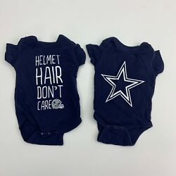 Dallas Cowboys Authentic Baby One Piece Lot Size 3M & 6M Blue Football