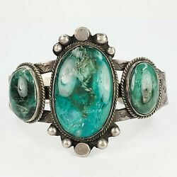 Stunning Antique Sterling Silver 925 Fred Harvey Green Turquoise Cuff Bracelet