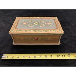 Anri Wood Carved Floral Painted Jewelry Music Box Reuge Swiss Movement Raindrops