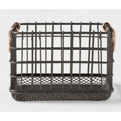 Wire Basket with Copper Handle and Mesh Bottom Pewter - Threshold