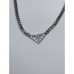 Prada upcycled triangle chain necklace white