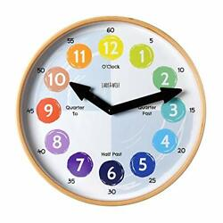 Telling Time Teaching Clock for Kids Learn to Tell the Time 12'' Wooden frame ...