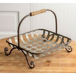 NEW Farmhouse Basket French Country Primitive METAL Tobacco Style Rustic 11'' Sq