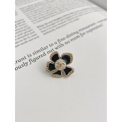 CHANEL CC Gold Plated Flower Metal Button, Black, 20mm
