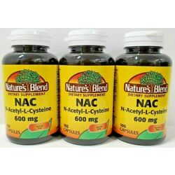 Nature's Blend NAC N-Acetyl-L-Cysteine 600 mg Supplement 100ct Capsules -3 Pack