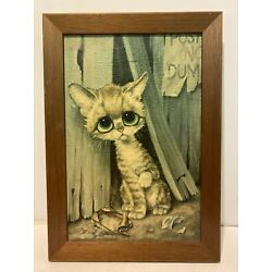 Pitty Kitty By Gig Big Eye Cat Wood Framed  Realistic Arts Picture