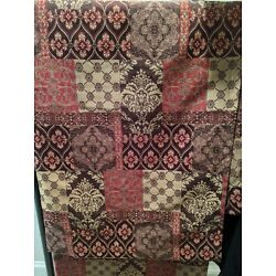 2 Pier 1 Imports Classic Brown Red Gold Grommet Window Curtain Panel 1 Pair