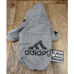 Adidog (Adidas) Dog/ Pet Hoodie,GREY Size Small, Fits Smaller Breeds-PAW WAG