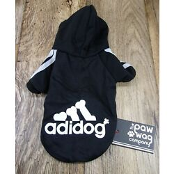 Adidog (Adidas) Dog/ Pet Hoodie,BLACK Size Small, Fits Smaller Breeds-PAW WAG