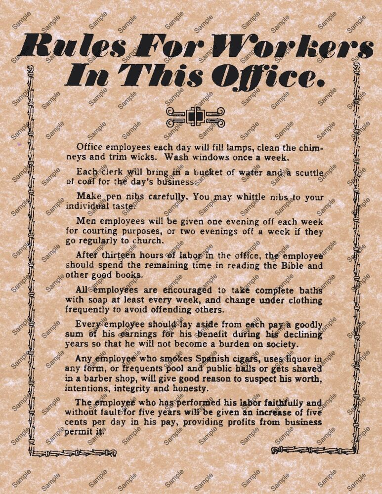 WORKERS IN THIS OFFICE OLD WILD WEST POSTER DESK WORK DECOR 113   eBay