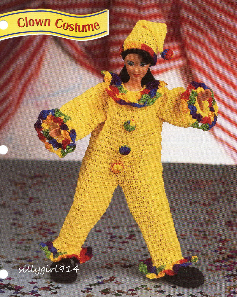 Quot Clown Costume Quot Crochet Pattern For Fashion Doll Ebay