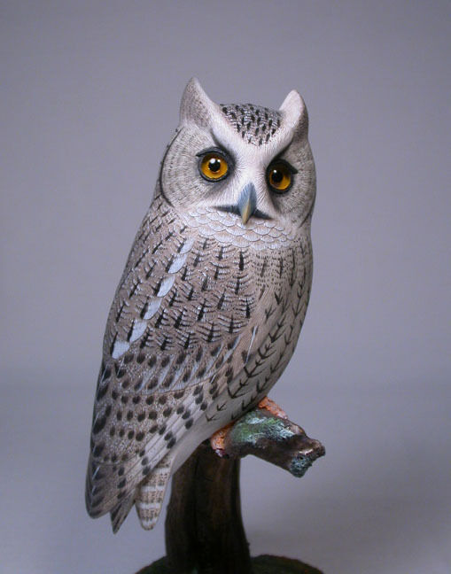 Quot whiskered screech owl bird wood carving birdhug ebay