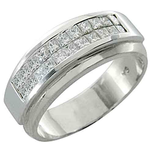 Mens 1 carat princess square cut diamond ring wedding band for Men s 1 carat diamond wedding bands